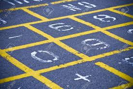 Hopscotch Pattern Custom Yellow Hopscotch Pattern On School Playground Stock Photo Picture