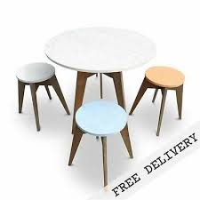 details about rustic wooden cafe style dining table round 6 seater recycled solid timber top