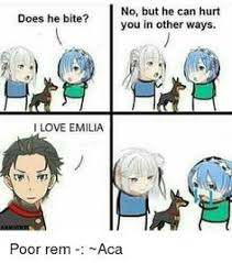 jaja funny dont me i like subaru x emilia but i also like rem but juast as a friend of subaru re zero