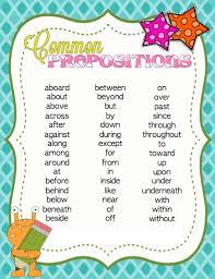 Printable Preposition List Prepositions Prepositional