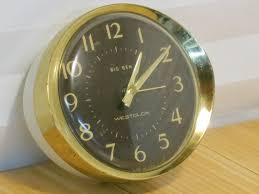 vintage westclox big ben wind up alarm clock gold brown white parts or repair