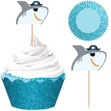 Pirate Shark Cupcake Kit For 24 Party City