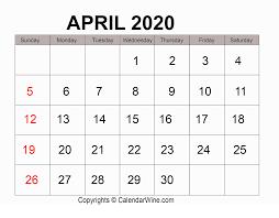 Free Printable April Calendar 2020 Download Free Printable April 2020 Calendar Pdf Template