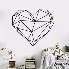 black large heart geometric wall sticker removable double sided visual pattern home decoration house wallpaper wn632 wall art stickers trees wall art