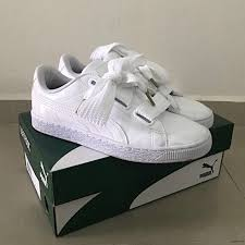 puma basket heart patent leather white women s fashion shoes on carou