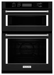 kitchenaid 27 single electric convection wall oven with built in microwave black