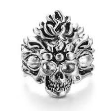 vagula vine silver skull biker ring