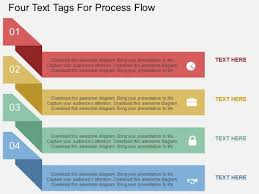 Flow Template Four Text Tags For Process Flow Powerpoint Template