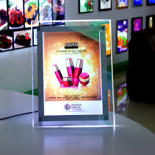 Led Light Box Display Stand Desktop stand a100 ultra thin cystal advertising display led 6