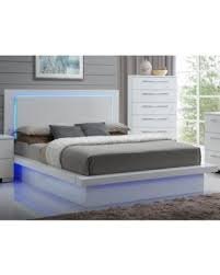 Get the Deal Saturn LED Lighted Queen Bed in White Lacquer