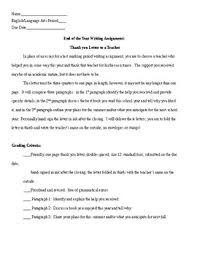 End Of The Year Writing Assignment Thank You Letter To A Teacher