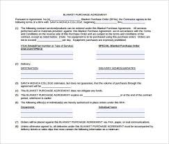 Purchase Agreement Samples 10 Blanket Purchase Agreements Samples Examples Format Sample