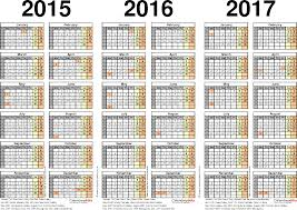 calendars monthly 2015 three year calendars for 2015 2016 2017 uk for excel