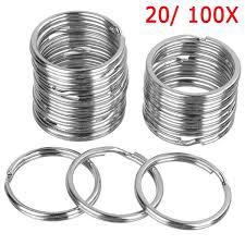 20/<b>100pcs</b> Silver Steel <b>Key Rings</b> Chains <b>Split</b> Ring Hoop Metal ...