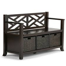 "47"" Nolan <b>Solid</b> Wood <b>Storage Bench</b> With Basket Storage Espresso ..."
