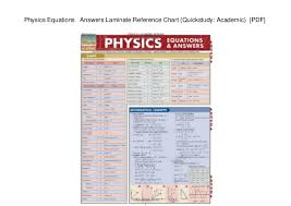 Quick Study Academic Charts Physics Equations Answers Laminate Reference Chart
