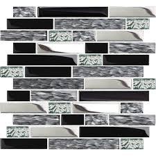 tst mosaic tiles black chrome silver glass tile kitchen backsplash mosaic art bath wall tstnb12