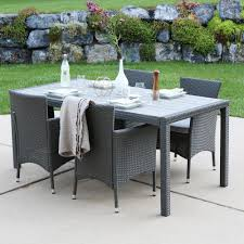 5 piece outdoor dining set. Walker Edison Furniture Company Gray Rattan 5-Piece Outdoor Dining Set With Cushions 5 Piece -