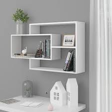wall shelves white 104x20x60 cm board