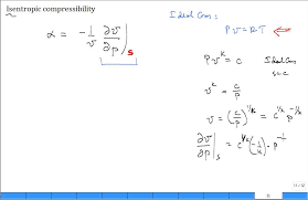 compressibility of gases. isentropic compressibility for ideal gas of gases m
