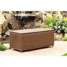 abbyson living palermo outdoor wicker storage ottoman in brown