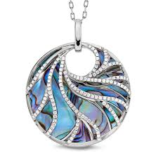 abalone and diamond pendant