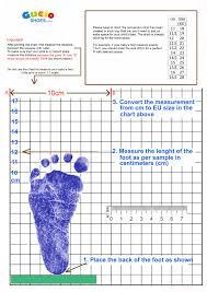 Measurements Gucio Baby Shoes