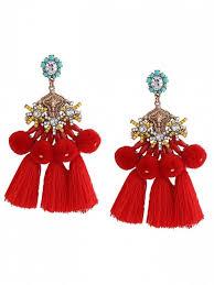 pom pom tassel pendant earrings red