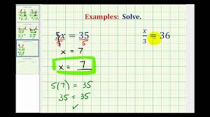 ex solve one step equations by mult and div whole numbers variable on left