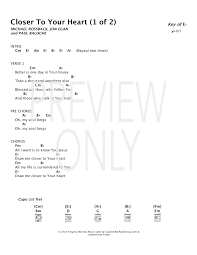 Closer To Your Heart Lead Sheet Lyrics Chords