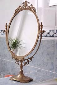 ornate freestanding solid brass tilting vanity mirror louis chic vintage style
