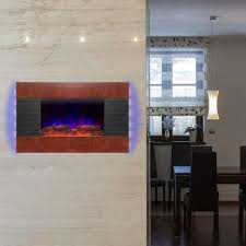 wall mount electric fireplace heater in wooden brown with tempered glass pebbles