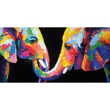 colorful elephant wall art canvas