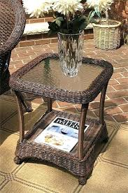 end tables white wicker end table veranda resin with inset glass top antique brown used