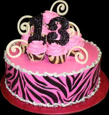 zebra birthday cake for teen girls.  Teen Zebra Pink 13th Birthday Cake Buttercream Iced Round Decorated With  A Zebra Print Intended Cake For Teen Girls