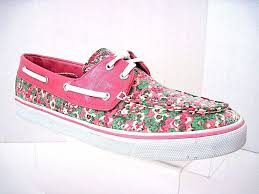 J12 Shoe Size Chart Sperry Top Sider Pink Floral Sequin Biscayne Boat Shoes Size