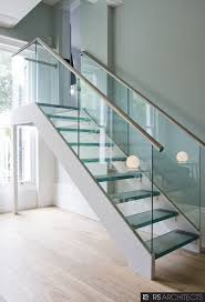 Astounding Chrome Iron Handrail Also Glass Staircase Banister As Inpiring  Minimalist Grey Interior Open Views Loft Inspirations