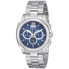bulova men s 96b219 stainless steel blue dial chronograph watch bulova men s 96b219 stainless steel blue dial chronograph watch