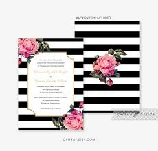 Black White Wedding Invitation Printed Pink Gold Floral