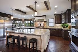 dark kitchen cabinets with white island