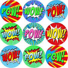 Details About 144 Superhero Pow Wow Comic Themed Teacher Reward Stickers Size 30 Mm