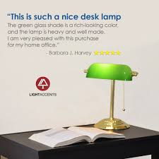 Adjustable Metal Bankers Desk Lamp With Glass Shade Brass