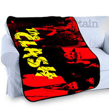 home the clash band printed photo bed throw fleece blanket