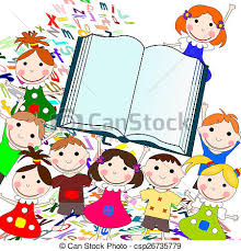 european funny kids with big book on a white background with let csp26735779
