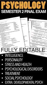 psychology semester final exam over editable questions  psychology semester 2 final exam over 180 editable questions
