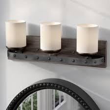 Cozy eclectic bathroom vanity designs ideas using wood Rustic Bathroom Fussell 3light Vanity Light Wayfair Bathroom Vanity Lighting
