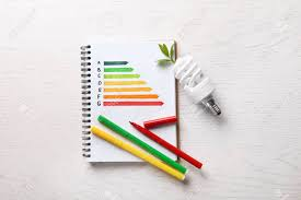 Fluorescent Light Chart Flat Lay Composition With Energy Efficiency Rating Chart Colorful