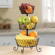 Kitchen Fruit Basket boasts a trio of graduated baskets, offering open-air  storage to naturally ripen fresh fruits and veggies. Stack all three tiers  for a ...