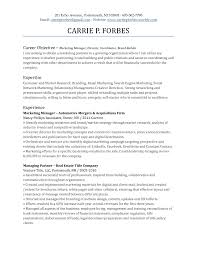Sample Resume Objectives For Sales And Marketing Fresh Career