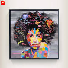 new graffiti street wall art abstract modern african women portrait canvas oil painting on prints for living room in painting calligraphy from home